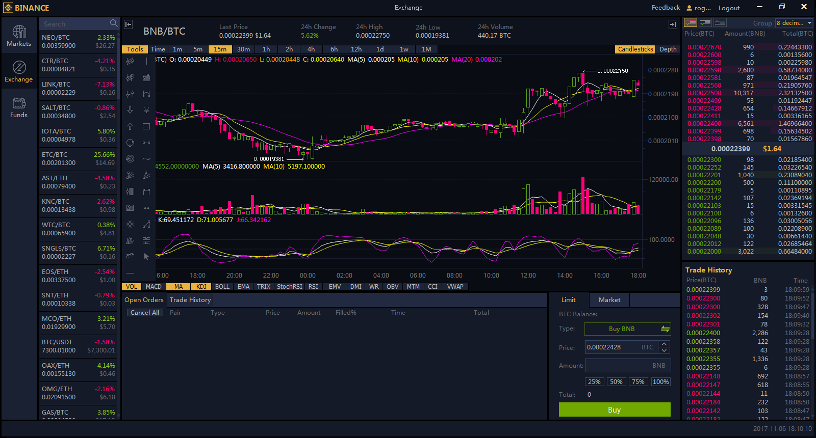 Screenshot of the Binance Windows version.